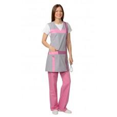 """Комплект """"Сириус-галатея"""" женский: фартук, брюки серый с розовым"""